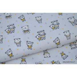 Popeline coton nounours gris et jaune moutarde fond gris x50cm