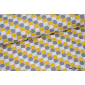 Popeline coton formes octogonales gris et jaune x50cm