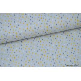 Popeline coton Pluie de croix moutarde sur fond gris x50cm