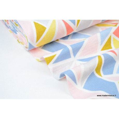 Double gaze coton imprimé TRIANGLES bleu et rose x50cm