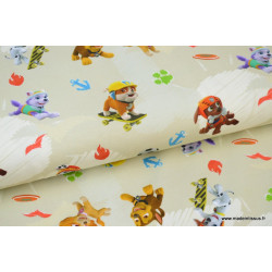 Jersey imprimé enfants PAT PATROUILLE 95%coton 5%ea 150cm 200gr/m² x50cm