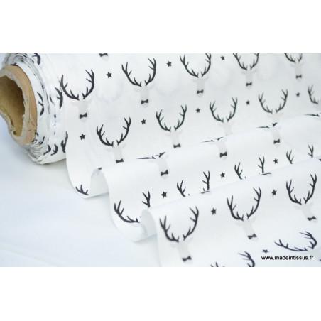 Tissu 100% coton imprimé rênes noirs et blancs .x1m