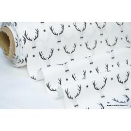 Tissu 100% coton imprimé rênes noirs et blancs x50cm