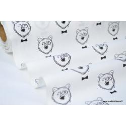 Tissu 100% coton imprimé Ours à lunettes noirs et blancs .x1m