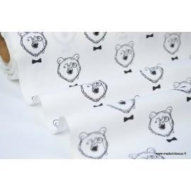 Tissu 100% coton imprimé Ours à lunettes noirs et blancs x50cm