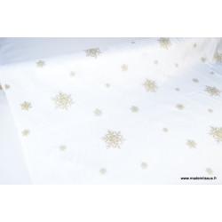 Tissu flocons OR nappes de noel .x 1m