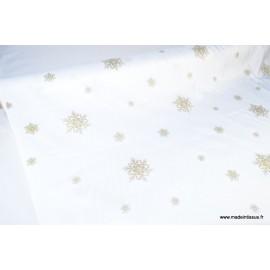 Tissu flocons OR nappes de noel x50cm