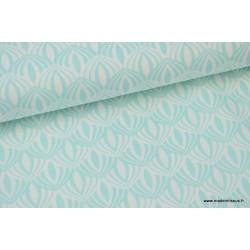 Popeline coton imprimée de fleurs de Lotus Menthe .x1m