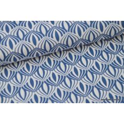 Popeline coton imprimée de fleurs de Lotus Bleu .x1m