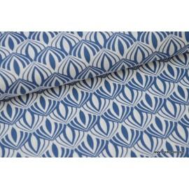 Popeline coton imprimée de fleurs de Lotus Bleu x50cm