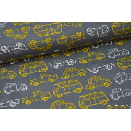 Popeline coton imprimé vieilles voiture gris et jaune .x1m