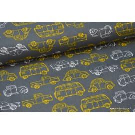 Popeline coton imprimé vieilles voiture gris et jaune x50cm