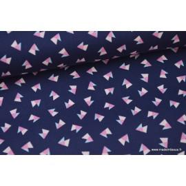 Popeline coton imprimé TRIANGLES rose et ciel fond bleu marine x50cm