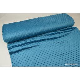 Tissu minky POIS PETROLE foncé x50cm