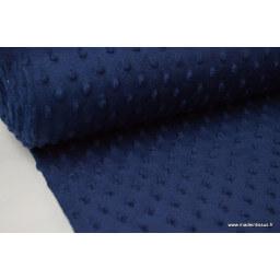 Tissu minky POIS MARINE x50cm