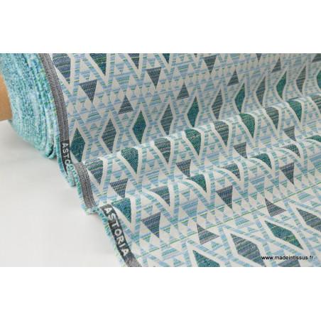 Tissu ameublement jacquard ASTORIA Turquoise .x 1m