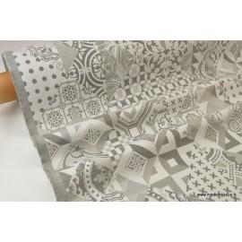 Tissu ameublement jacquard AZUCARO gris argenté x50 cm