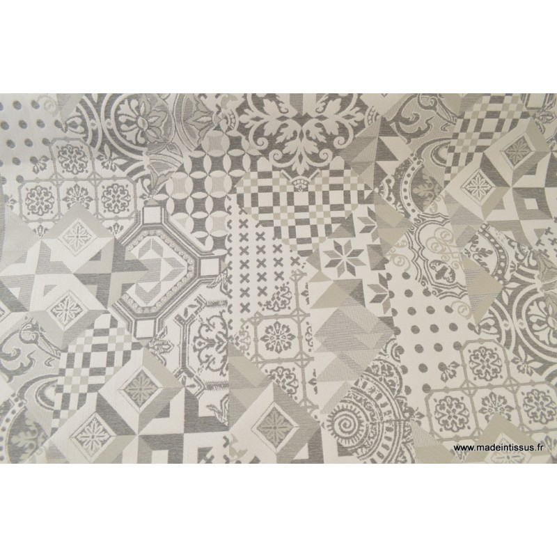 Jacquard ameublement azucaro imitation carreaux de ciment gris x10 cm - Nappe carreaux de ciment ...