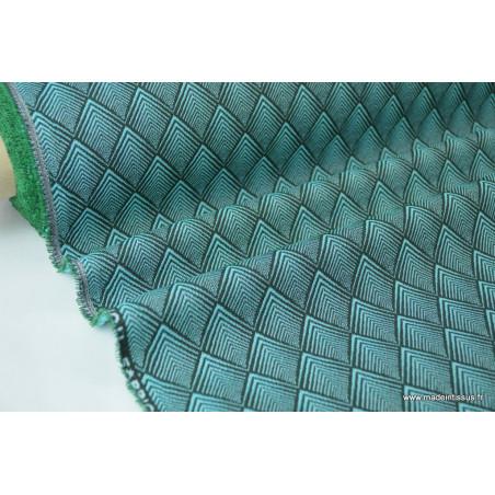Tissu ameublement jacquard CACHOU émeraude .x 1m