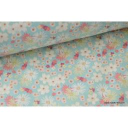 tissu coton imprimé fleurs et fleurettes menthe et rose x50cm