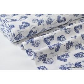 Double gaze coton imprimé TRACTOPELLES bleu x50cm