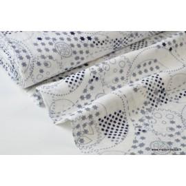 Tissu Double gaze coton imprimé Roulements et étoiles bleu .x1m