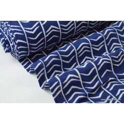 Tissu Double gaze coton imprimé chevrons bleu et blanc .x1m