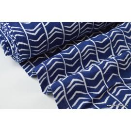 Double gaze coton imprimé chevrons bleu et blanc x50cm