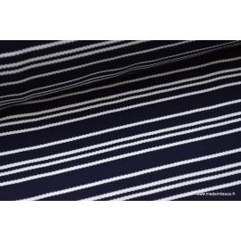 Maille lourde à rayures bleu marine et blanc x50cm