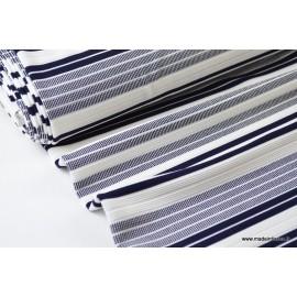 Maille lourde à rayures marine et blanc x50cm