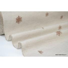 Tissu flocons BLANCS FOND CHOCOLAT x50cm