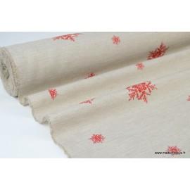 Tissu flocons ROUGE fond LINx50cm