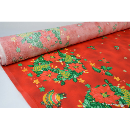 Tissu traditionnel rouge nappes de noel .x 1m