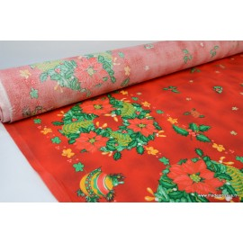 Tissu traditionnel rouge nappes de noel x50cm