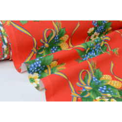 Tissu traditionnel bouquets nappes de noel fond rouge .x 1m