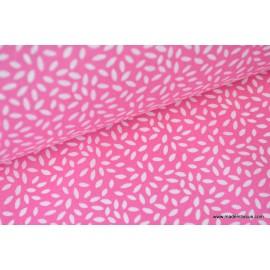 Tissu coton imprimé dessin grains de blé fuchsia  .x1m
