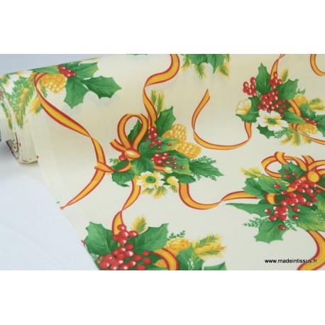 Tissu traditionnel bouquets nappes de noel fond ivoire x50cm