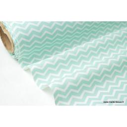 Tissu coton oeko tex imprimé chevrons zigzag menthe au mètre