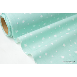 Tissu coton imprimé dessin étoiles multi MENTHE .x1m