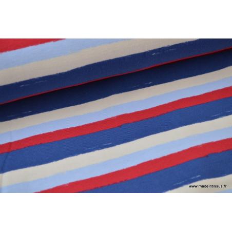 Tissu Jersey imprimé rayures marines .x1m