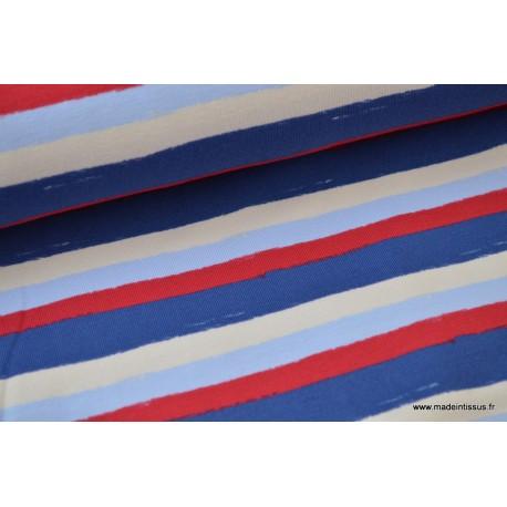 Jersey imprimé rayures marines x50 cm