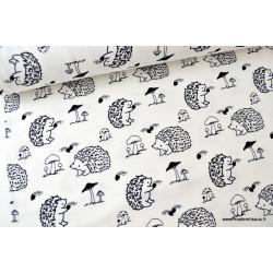 Jersey imprimé Hérissons noir et blanc .x1m