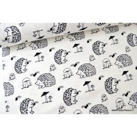 Jersey imprimé Hérissons noir et blanc x50 cm