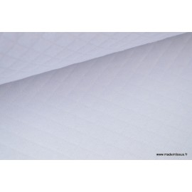Jersey coton matelassé 1x1 blanc x50cm