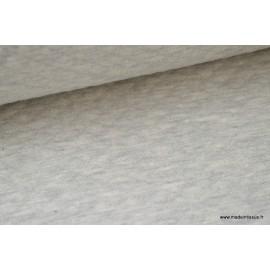 Tissu Jersey coton matelassé 1x1 écru mélangé .x1m