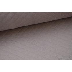 Tissu Jersey coton matelassé 1x1 Taupe .x1m