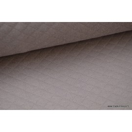 Jersey coton matelassé 1x1 Taupe x50cm