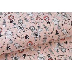 Tissu Jersey imprimé CIRCUS ROSE .x1m