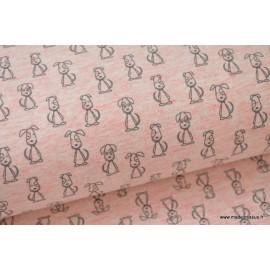 Jersey imprimé petits chiens rose x50 cm