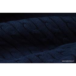 Maille tricoté torsadé MARINE .x1m